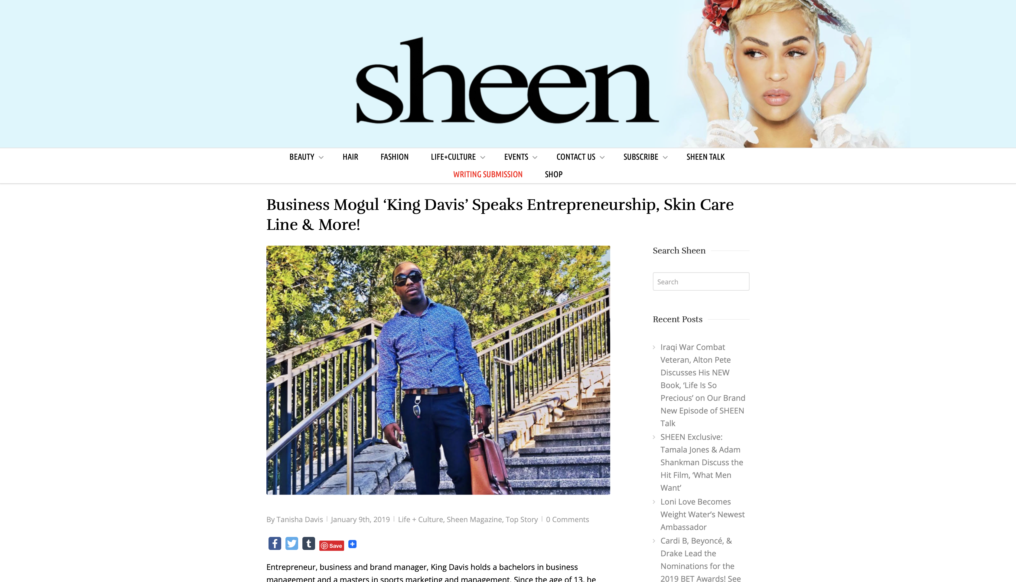 Sheen Magazine features our CEO King Davis